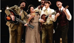 Paul Kerr, Elizabeth Loos, Scott Anthony, Scott Bradley, and Chris Bryant (back) as The Greene Family Singers in Southern Crossroads. Photo-Derby Dinner Playhouse.