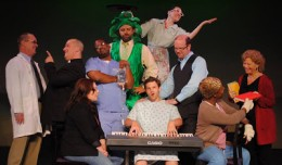 Rusty Henle, Frank Goodloe, Jeremy Moon, Jennifer Poliskie, AW Johnson, Jason Cooper, Jordan Price, Lauren McCombs, Stephen G. Smith, Tymika Prince, Angie Renae Hopperton and Jennifer Pennington in A New Brain. Photo-CenterStage.