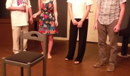 Sean Keller, Mandee McKelvey, Megan Brown & Kent Carney in Out of the Closet. Photo-The Bard's Town.