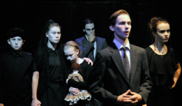 Oliver Cox Caitlin Sullivan, Evelyn Cooley, Spencer Wells, Travis Ryan & Catherine Young in Six Characters in Search of an Author. Photo-Walden Theatre.