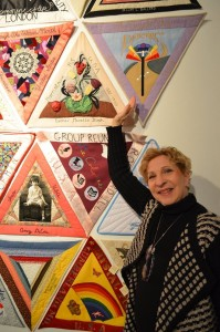 Ruth Rothbart-Mayer, one of the original quiltmakers, who made it to the opening reception! Ruth is pointing out her beautiful quilt which honors her grandmother.