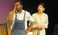 Gary Brice as JImmy Winkfield and Samina Raza as his wife Lyddy rehearsing play JOCKEY JIM. photo by Bud Dorsey