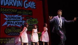 Jarran Muse as Marvin Gaye & cast in the national tour of Motown The Musical (Photo by Joan Marcus)